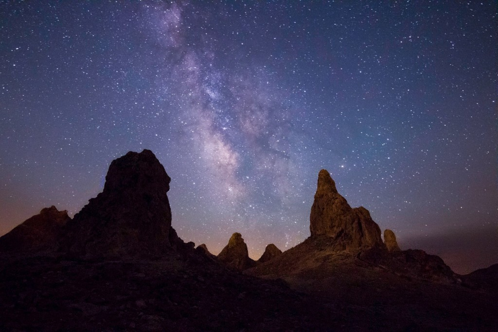 Milky Way and the Trona Pinnacles by Sid Nangia, workshop student.