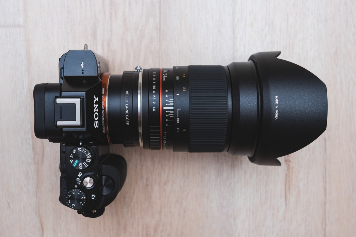 The Sony a7S mounted with the Rokinon 24mm f/1.4 Lens