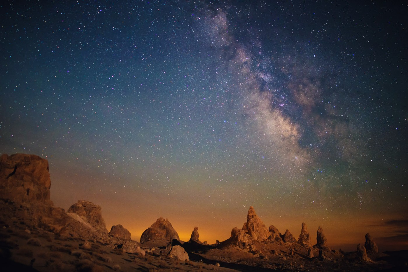 Light Painted Pinnacles and the Milky Way