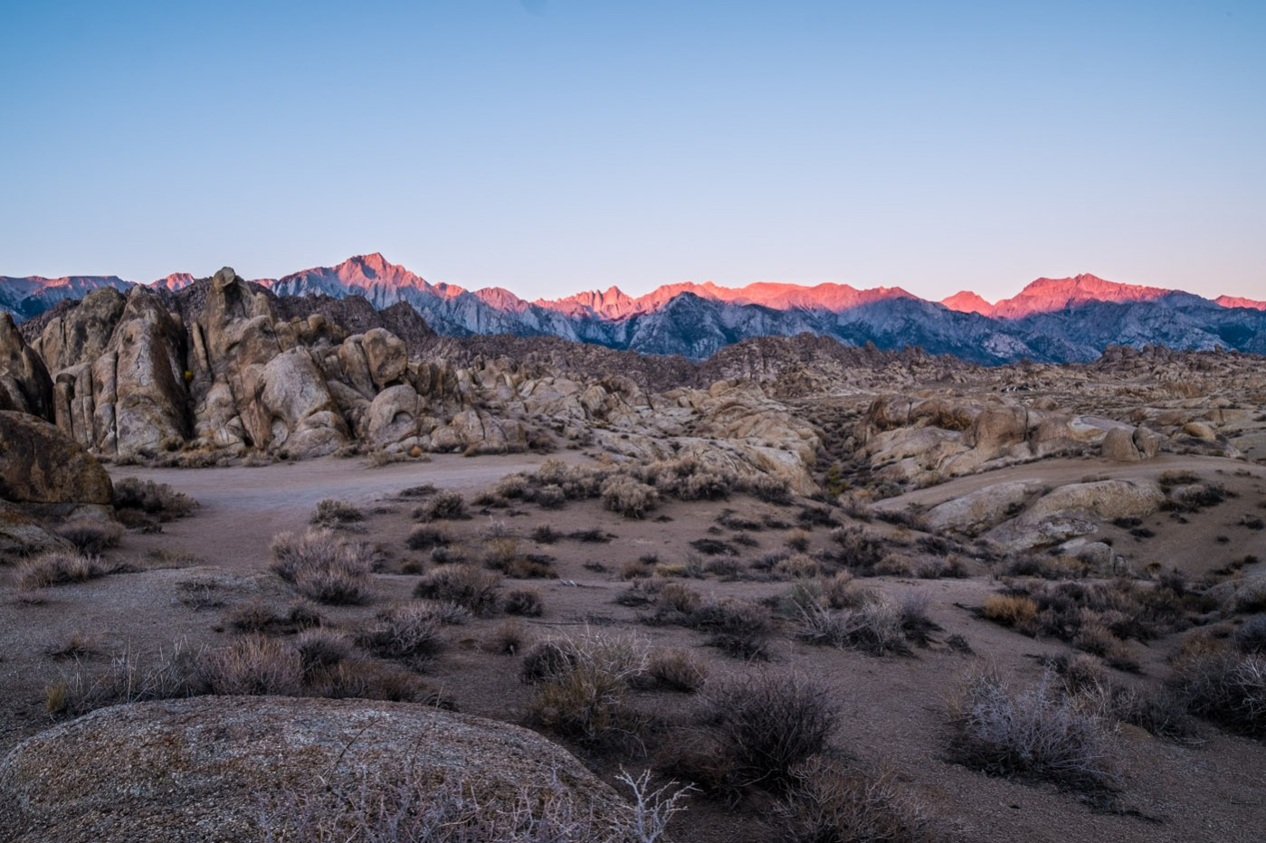 Eastern Sierras from Alabama Hills, California.