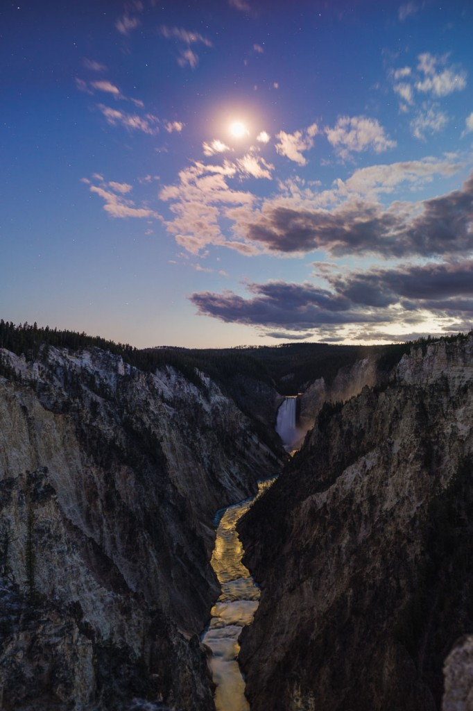 Grand Canyon of the Yellowstone panorama stitch in the moonlight with the Canon EF 50mm f/1.8 STM