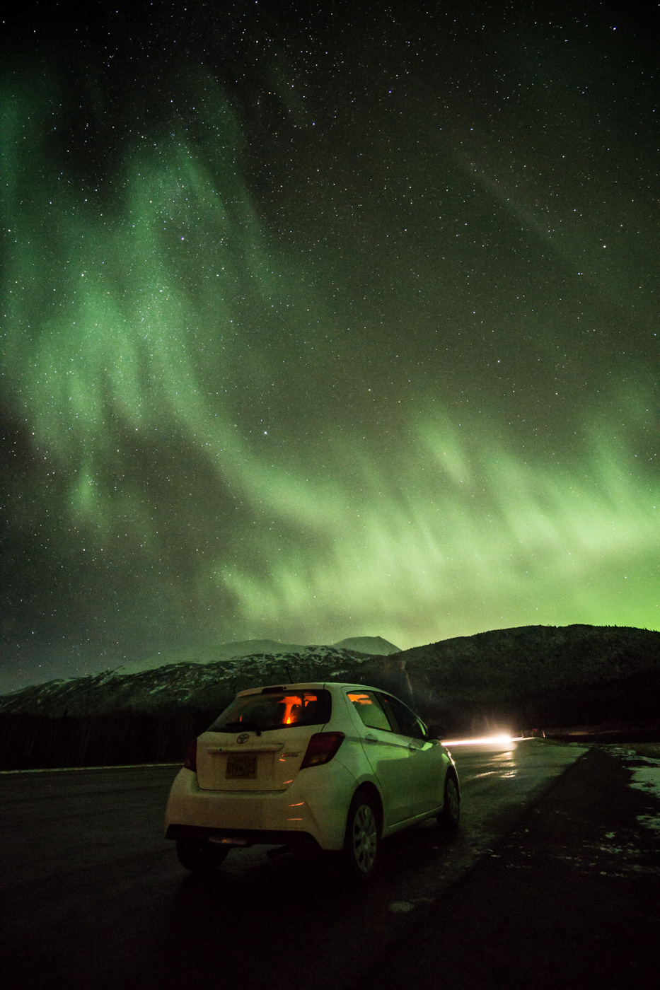 Sony a6000, Aurora and Yaris, 15s, f/4, ISO 1600