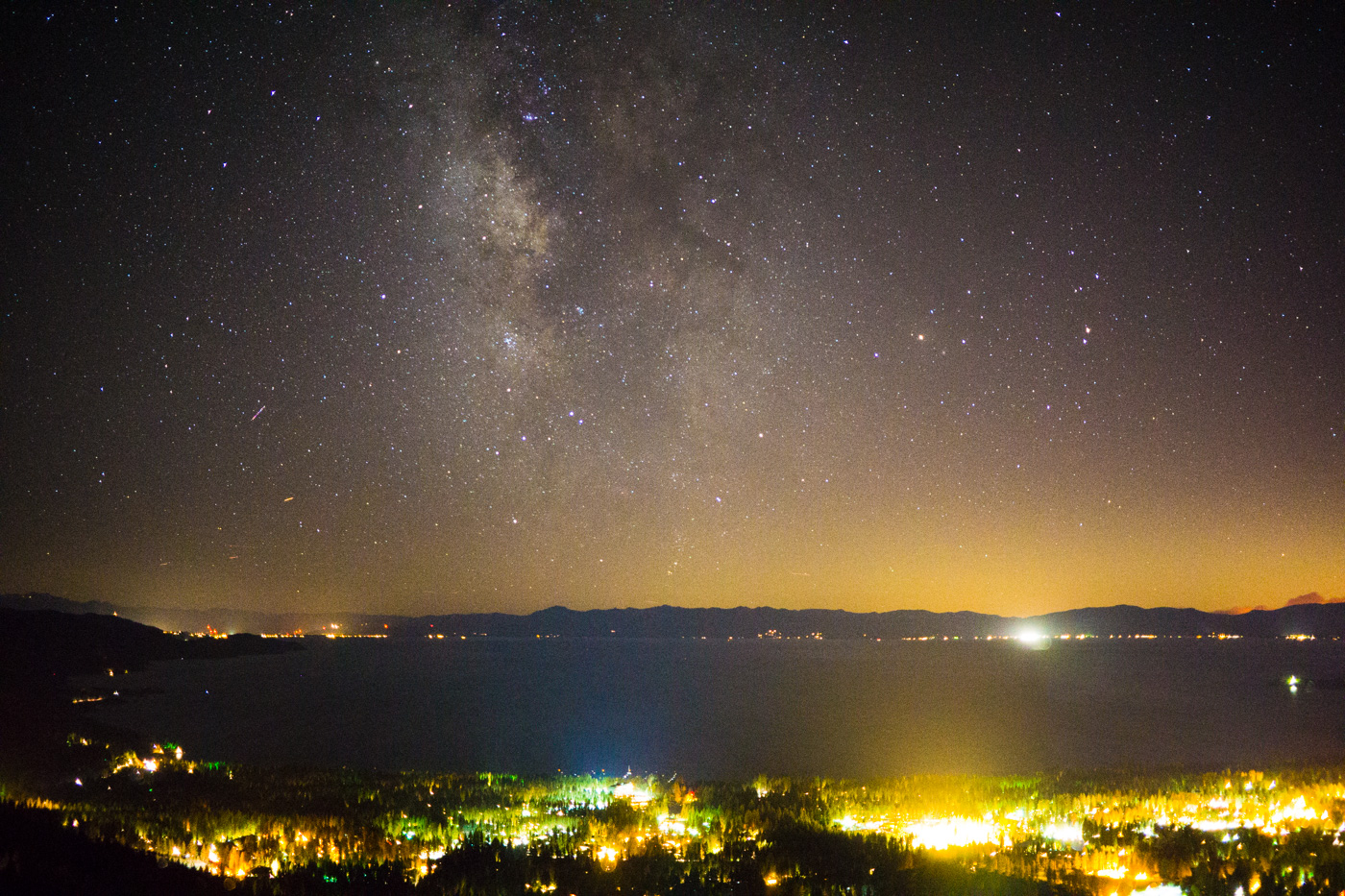 Sony a6000, Milky Way over Lake Tahoe, 10s, f/2.8, ISO 6400