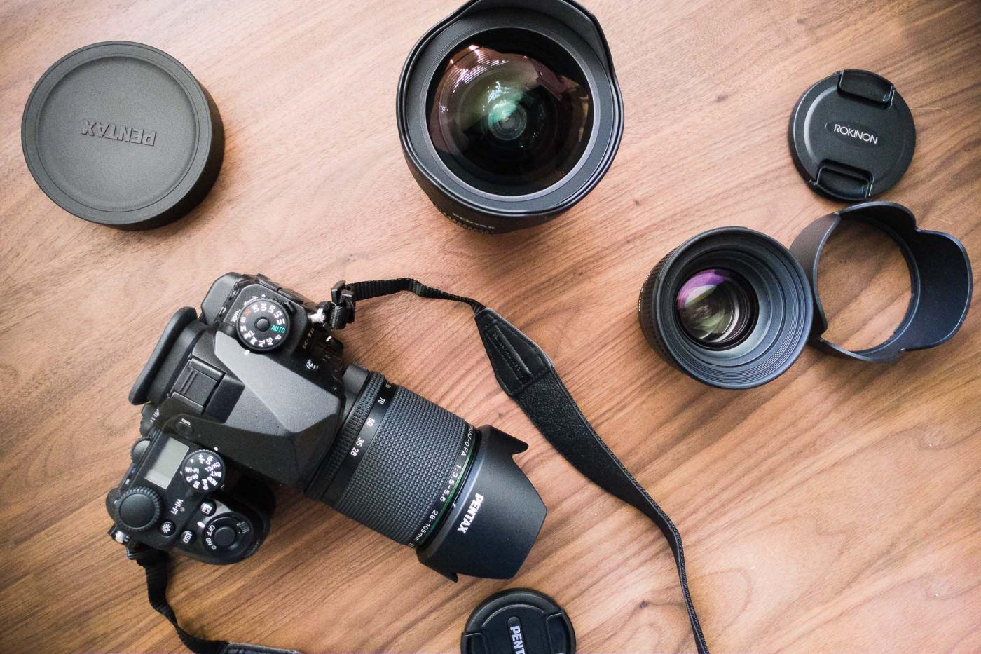 Pentax K-1, Pentax 28-105 f/3.5-5.6, Pentax 15-30mm f/2.8, Rokinon 50mm f/1.4