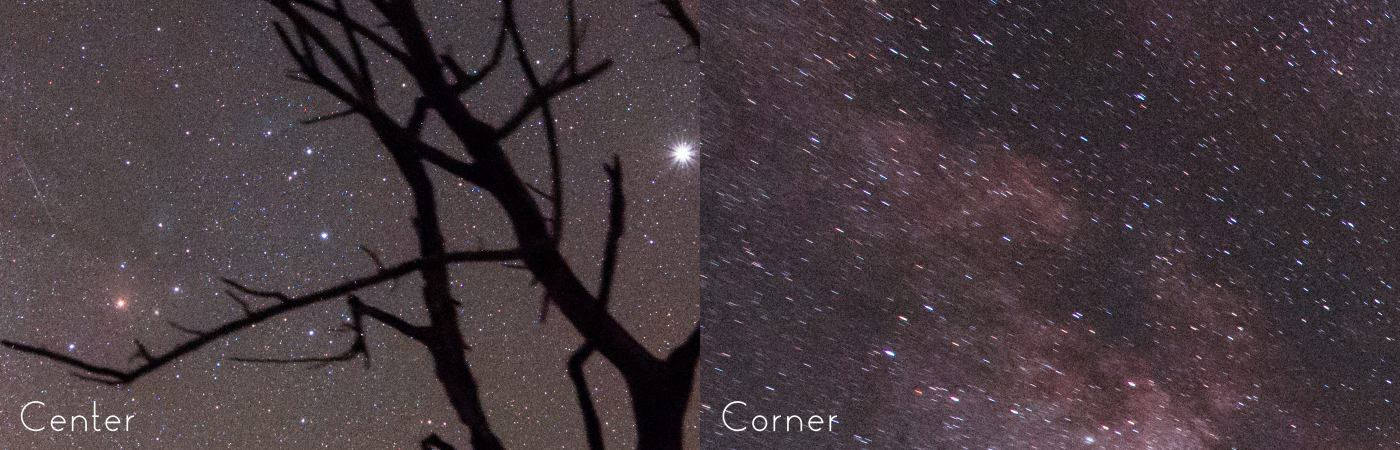 On a very wide angle rectilinear lens, Astrotracer tracks perfectly in the center but is unable to track as well in the corners.