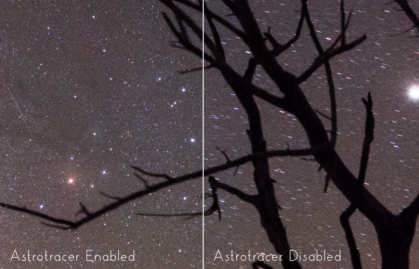 Pentax K-1 Mark II Astrotracer 100 percent crop comparison