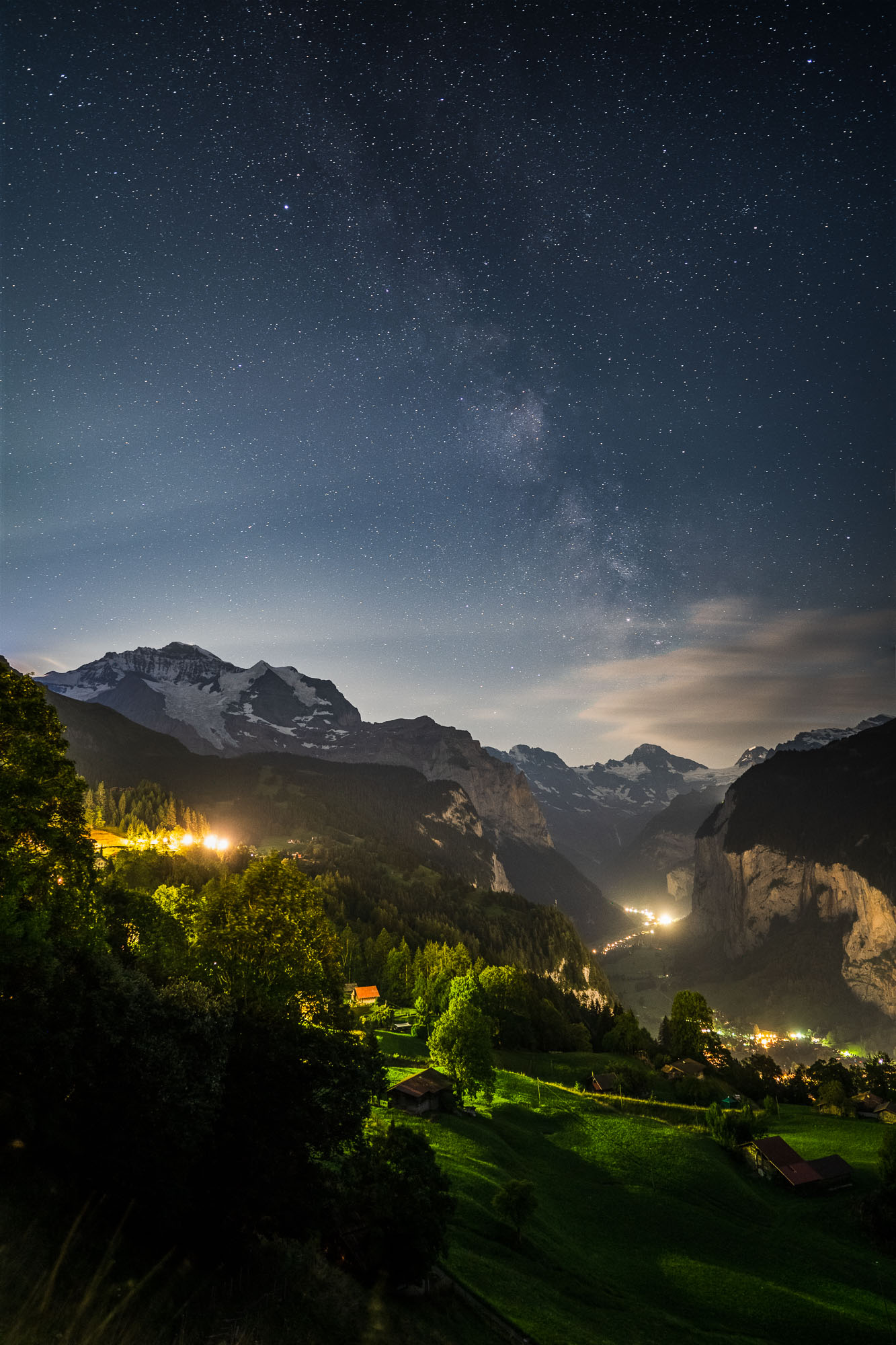 Milky Way over Wengen, Lauterbrunnen Valley, Switzerland.