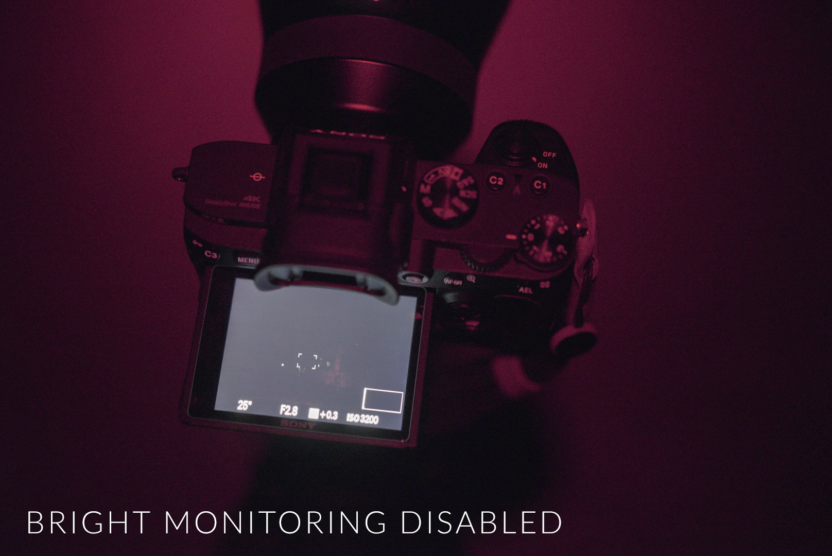 Sony a7III Bright Monitoring Disabled