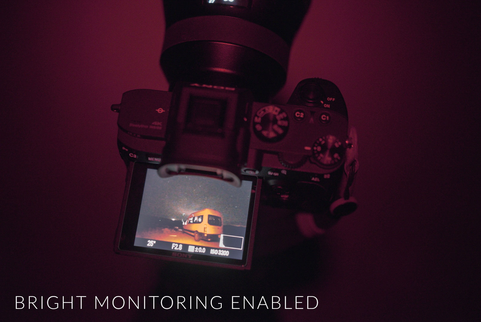Sony a7III Bright Monitoring Enabled