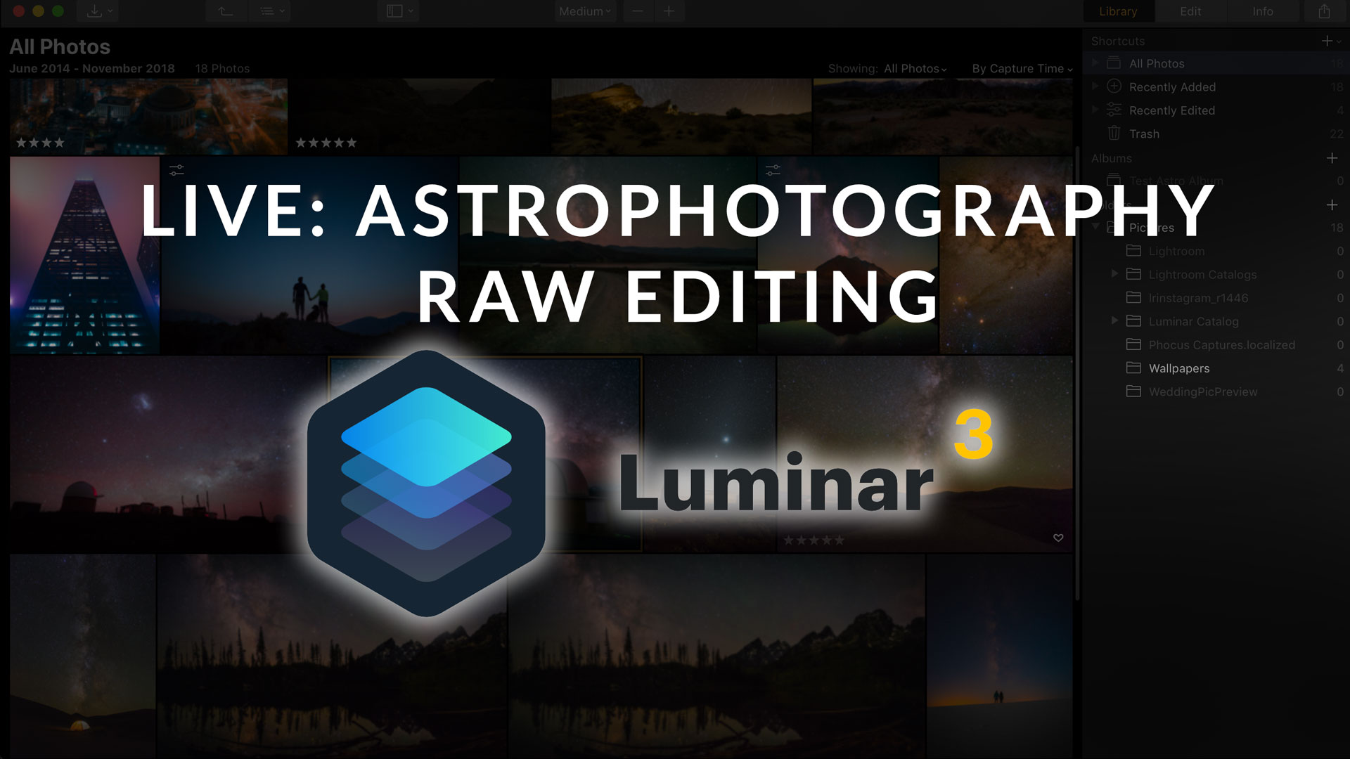 Live: Astrophotography RAW Editing in Luminar 3
