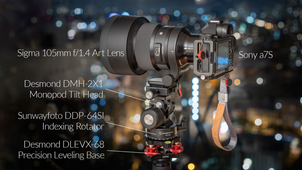 My panorama head setup for large format panorama shooting. Sigma 105mm f/1.4 Art Lens, Sony a7S, Desmond DMH-2X1 Monopod Tilt Head, Sunwayfoto DDP-64SI Indexing Rotator, Desmond DLEVX-68 Precision Leveling Base