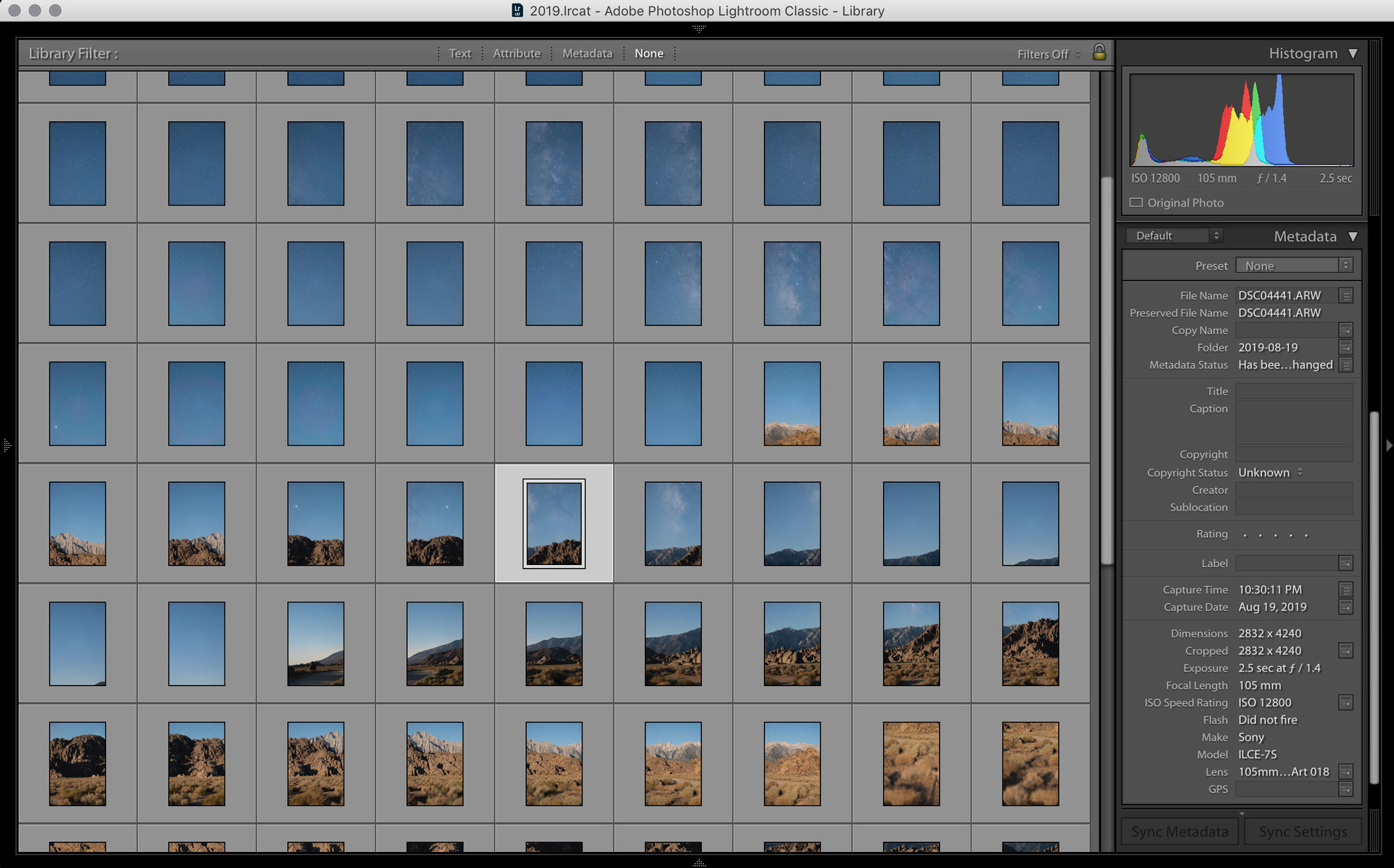 Adobe Lightroom Grid View