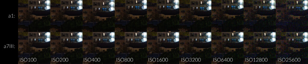 Sony a1 vs. Sony a7III ISO Noise Comparison